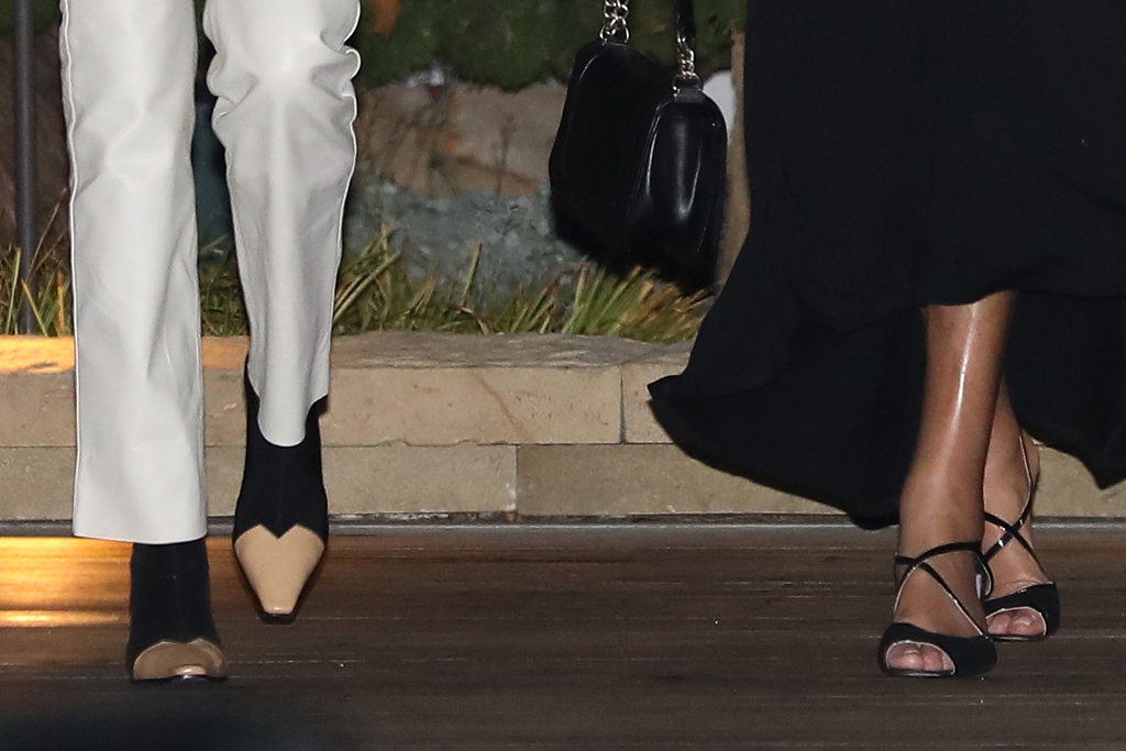 kendall jenner, leather pants, crop top, sheer, bralette, jacket, shirt, mom, dad, caitlyn jenner, shoes, boots, heels