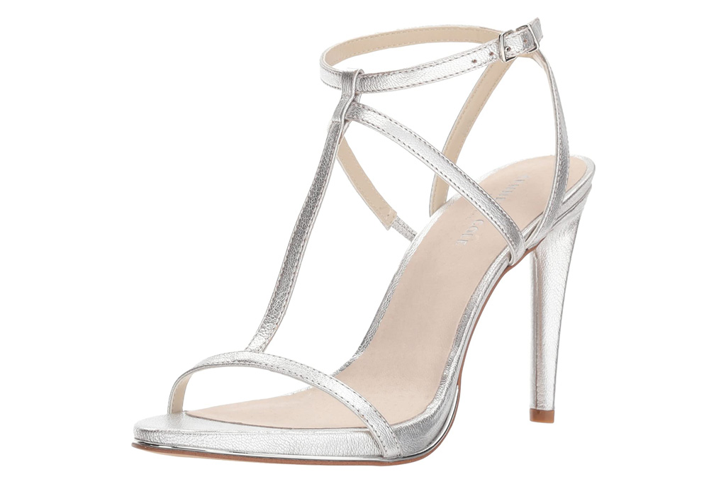 silver sandals, heels, metallic, kenneth cole