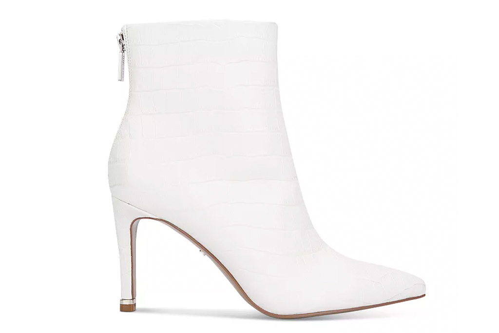 white booties, boots, heels, stiletto, kenneth cole