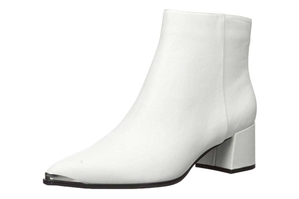 white boots, booties, heels, kenneth cole