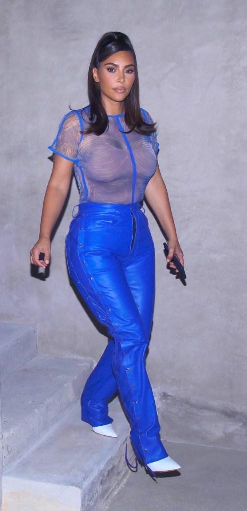 kim kardashian, blue pants, leather pants, boots, white boots, sheer shirt, mesh shirt, los angeles