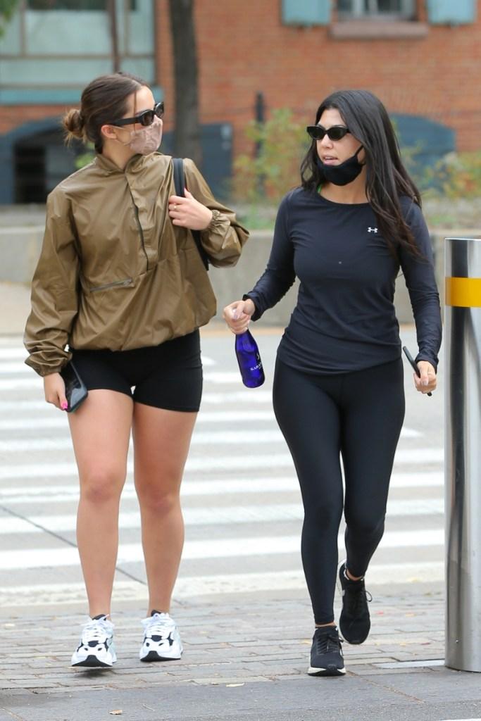 kourtney kardashian, run, shoes, leggings, workout, shirt, under armour, veja, new york, addison rae