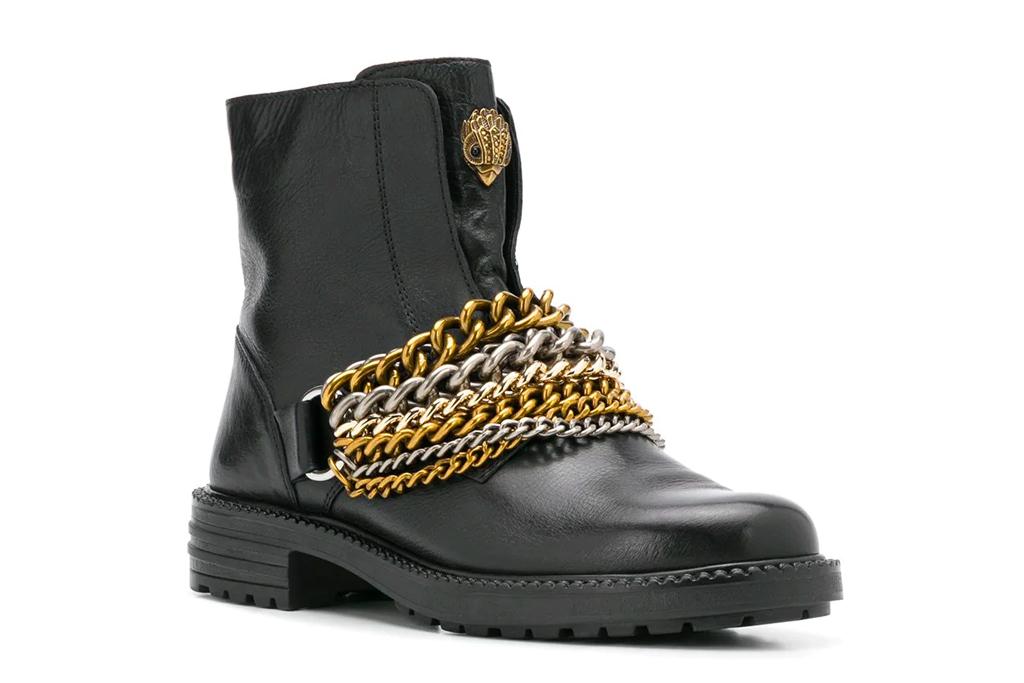 black boots, booties, gold, kurt geiger london