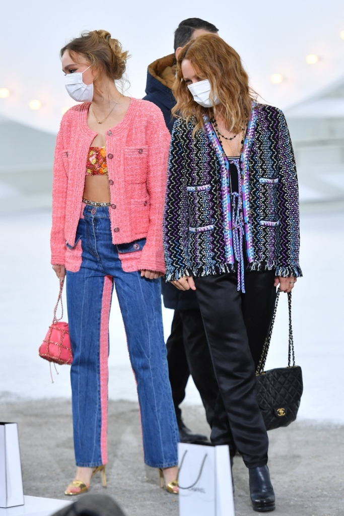 lily-rose depp, jeans, shirt, bralette, sweater, chanel, spring 21, paris fashion week, pfw, chanel, shoes, vanessa paradis