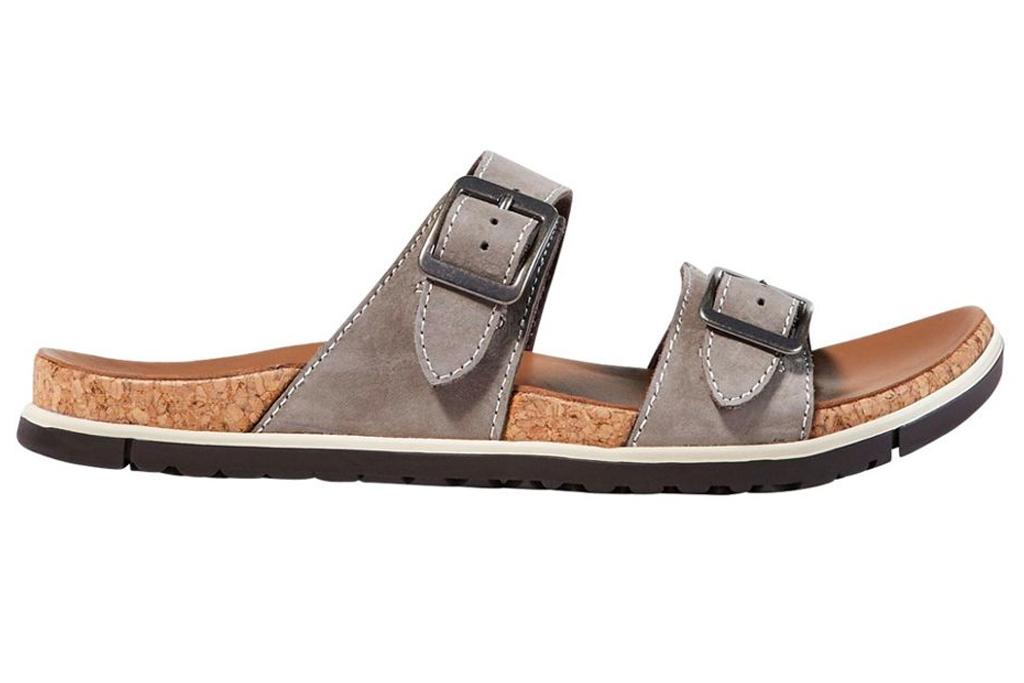 ll bean, sandals, white, double strap