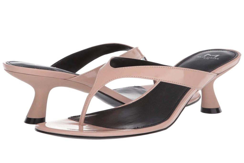 thong sandals, tan, nude, heel, kitten heel, marc fisher