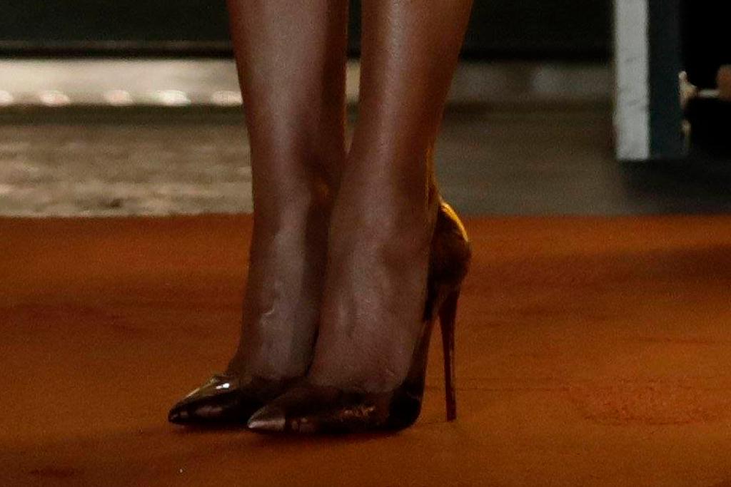 melania trump, orange, coat, dress, halloween, white house, heels, metallic, christian louboutin
