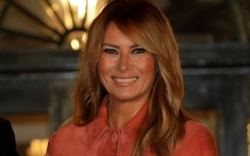 melania trump, orange, coat, dress, halloween,