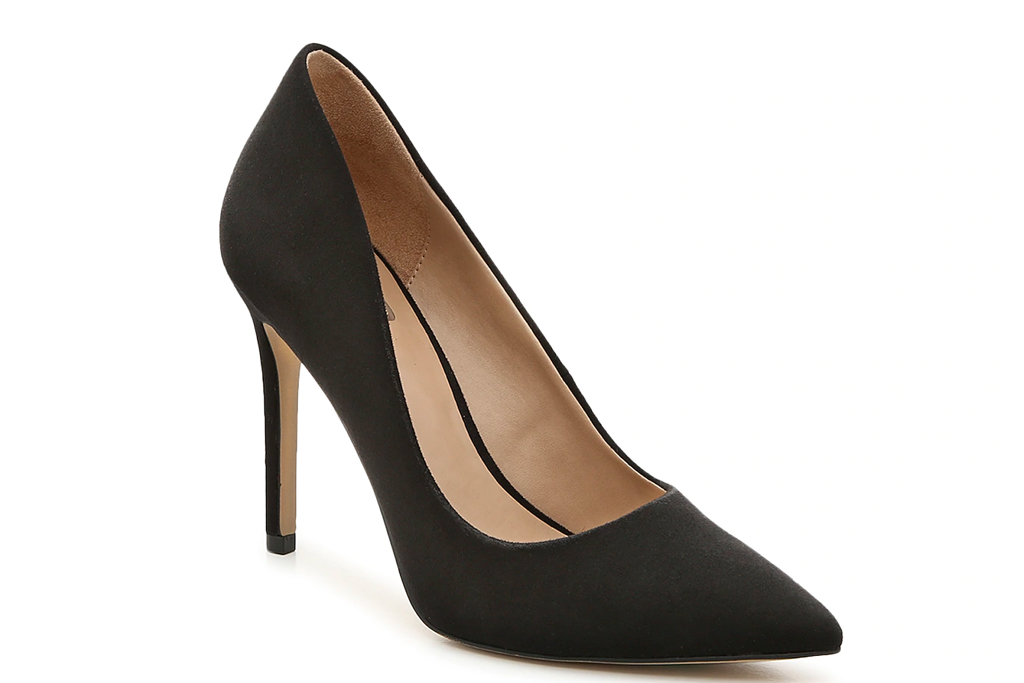 heels, pumps, black, suede, pointed toe, stiletto, mix no 6