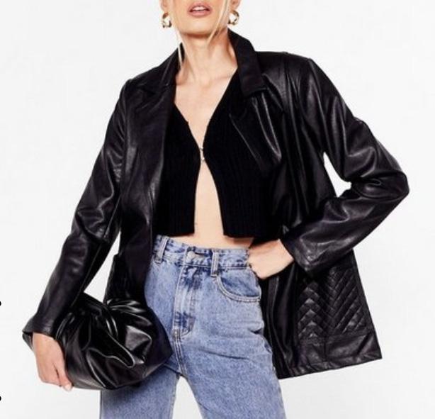 leather blazer, blazer, faux leather, fall, nasty gal