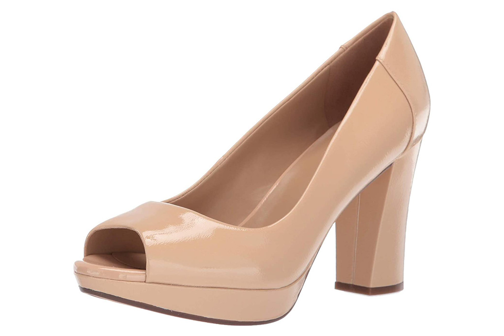 nude, pumps, peep toe, heels, naturalizer