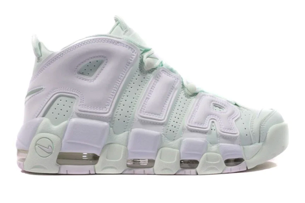 nike, sneakers, green, uptempo, white,