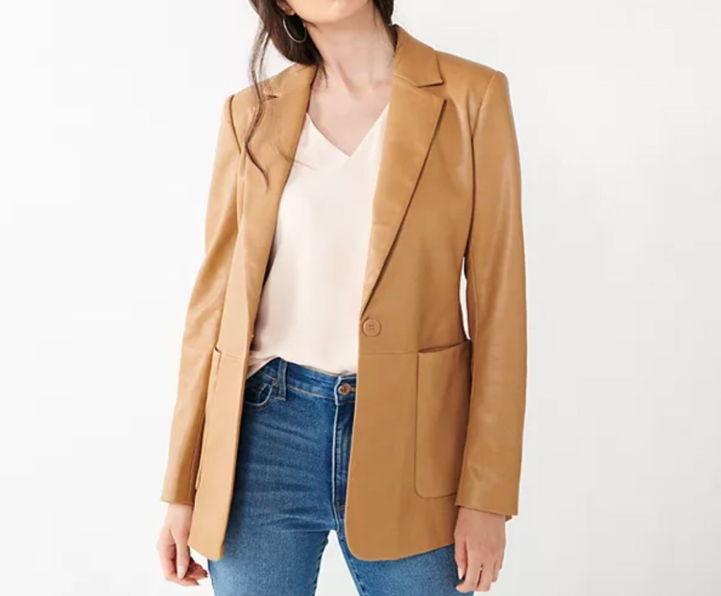 leather blazer, blazer, faux leather, fall, nine west