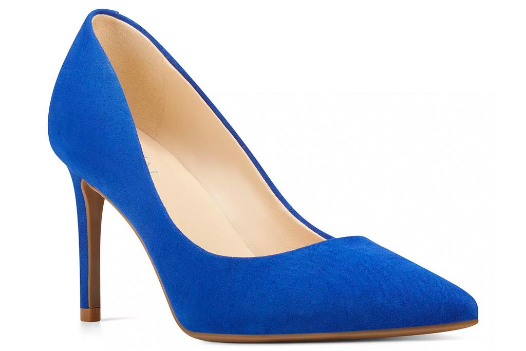 blue heels, pumps, shoes, nine west