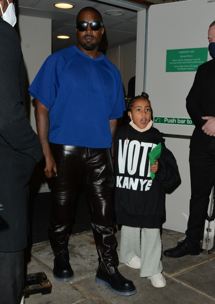 kanye west, yeezy, north west, adidas yeezy, bottega veneta, leather pants, daughter, shoes, london