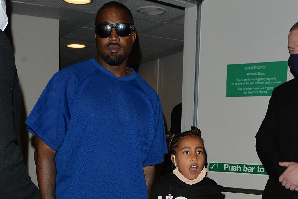 North West Wears A Vote Kanye Hoodie With Dad Kanye West In London Footwear News