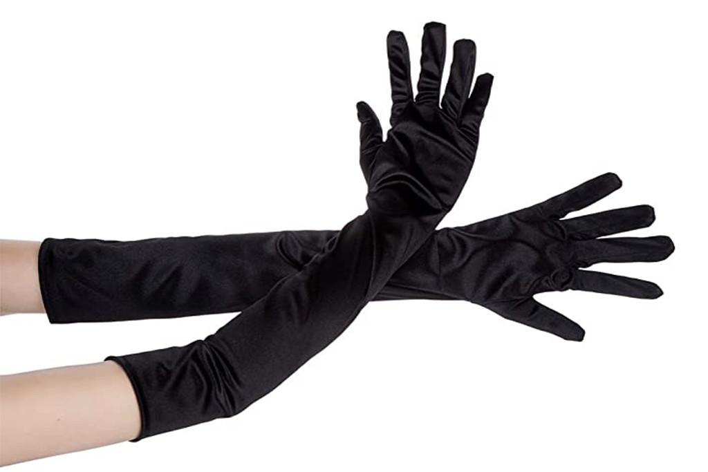 opera gloves, silk gloves, long black gloves