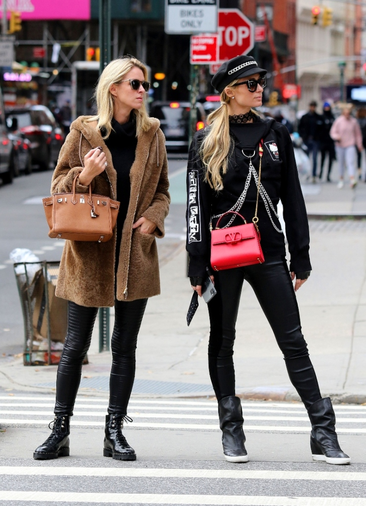 paris hilton, nicky hilton, leggings, leather, boots, shoes, new york, jacket, sister, coat