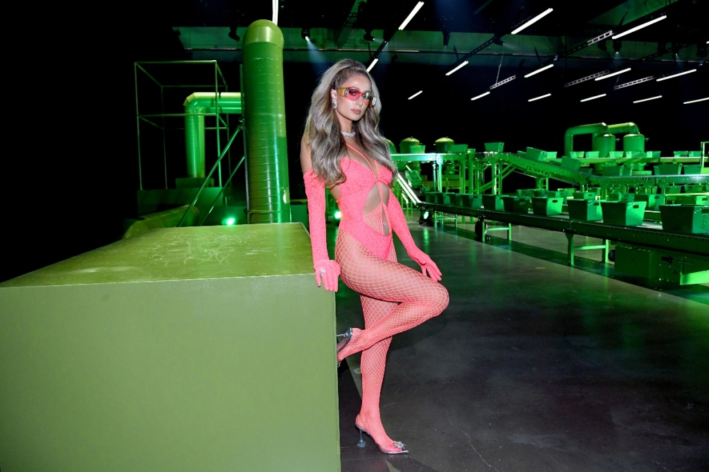 paris hilton, savage x fenty, pink, tights, fishnet, bodysuit, lingerie, shoes, amina muaddi, 2020