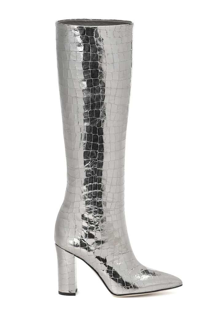 paris texas boot, metallic knee high boot, shiny boots