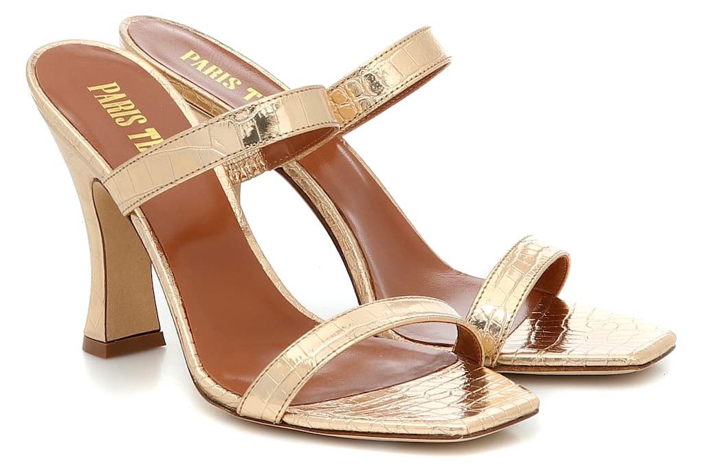 gold heels, sandals, strappy, shoes, paris texas