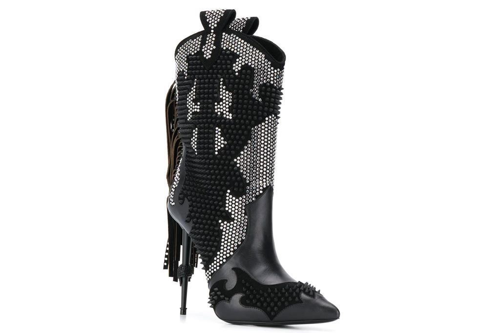 philipp plein, boots, cowboy boots, skull, heel