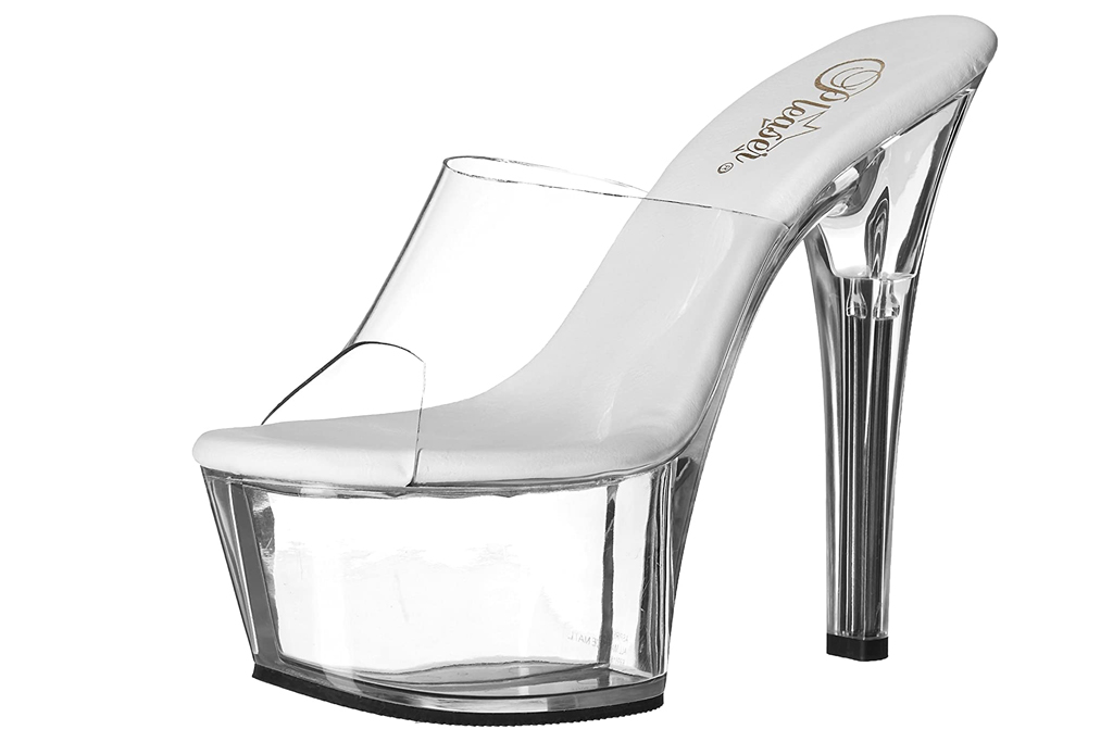 clear, heels, platform, pvc, pleaser