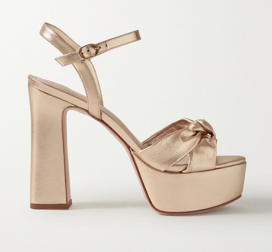 gold heels, sandals, platform, porte & paire