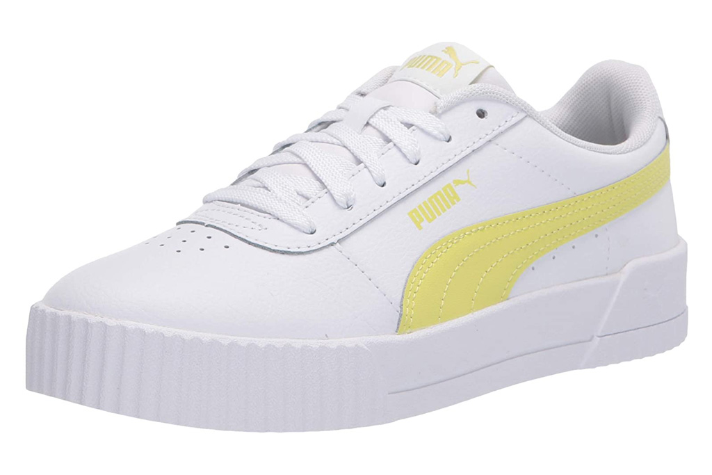sneakers, yellow, white, puma