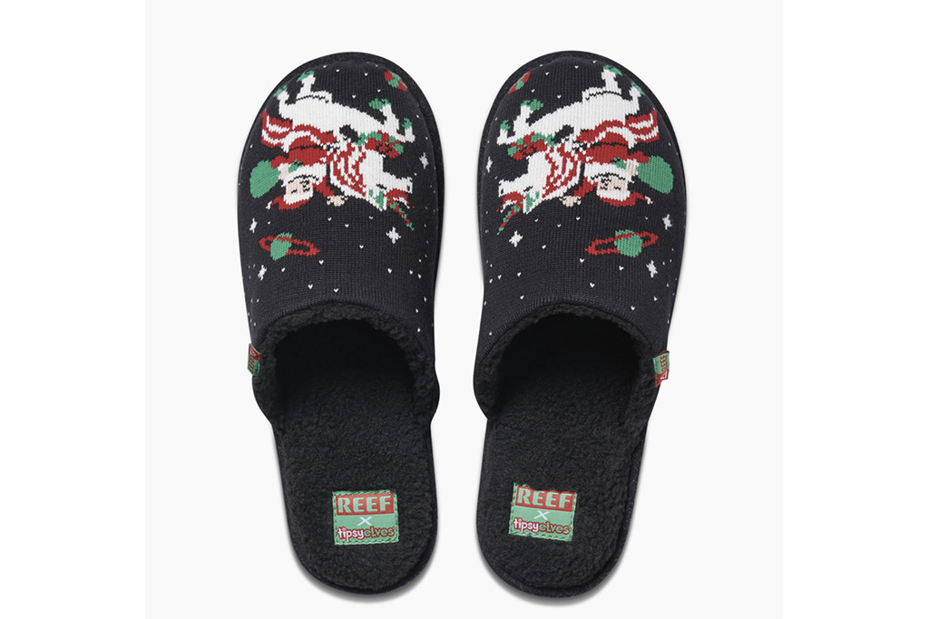 reef x tipsy elves, collabs, christmas slippers
