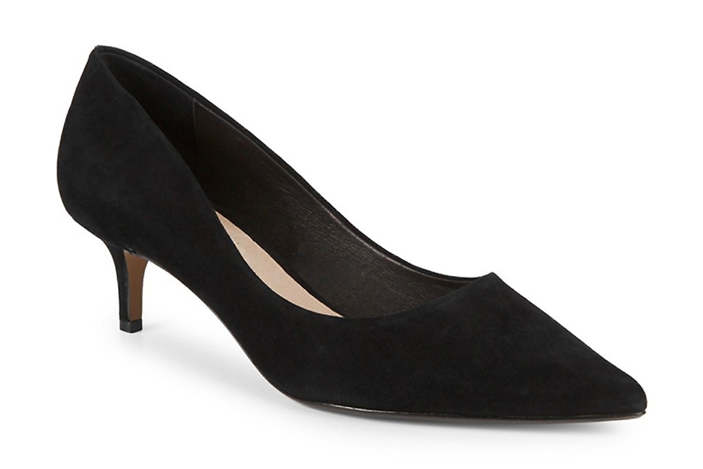 black, pumps, kitten heel, heels, pointed toe, saks