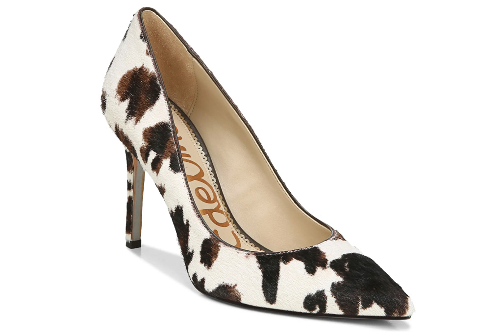 cow print, hair, heels, pumps, sam edelman