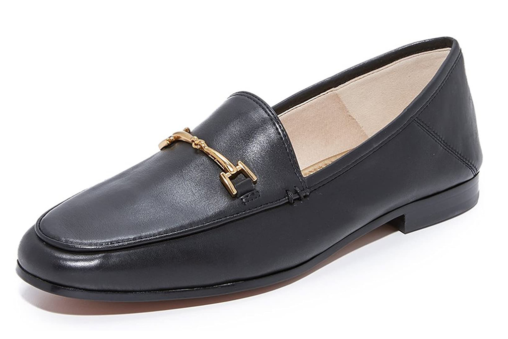 loafers, black, leather, gold, horsebit, sam edelman