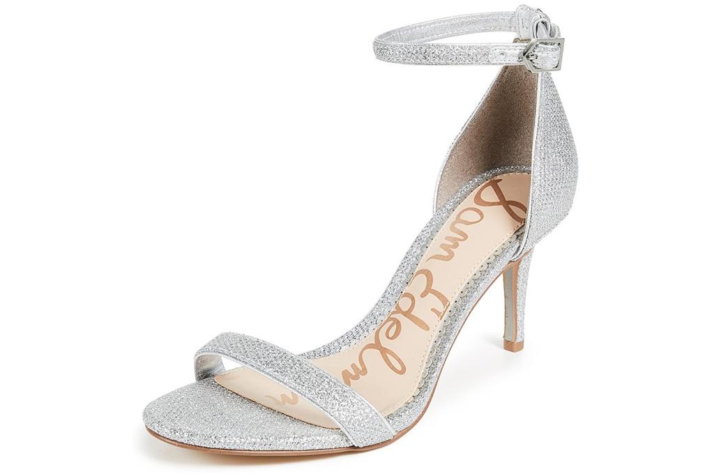 silver sandals, heels, stiletto, sam edelman