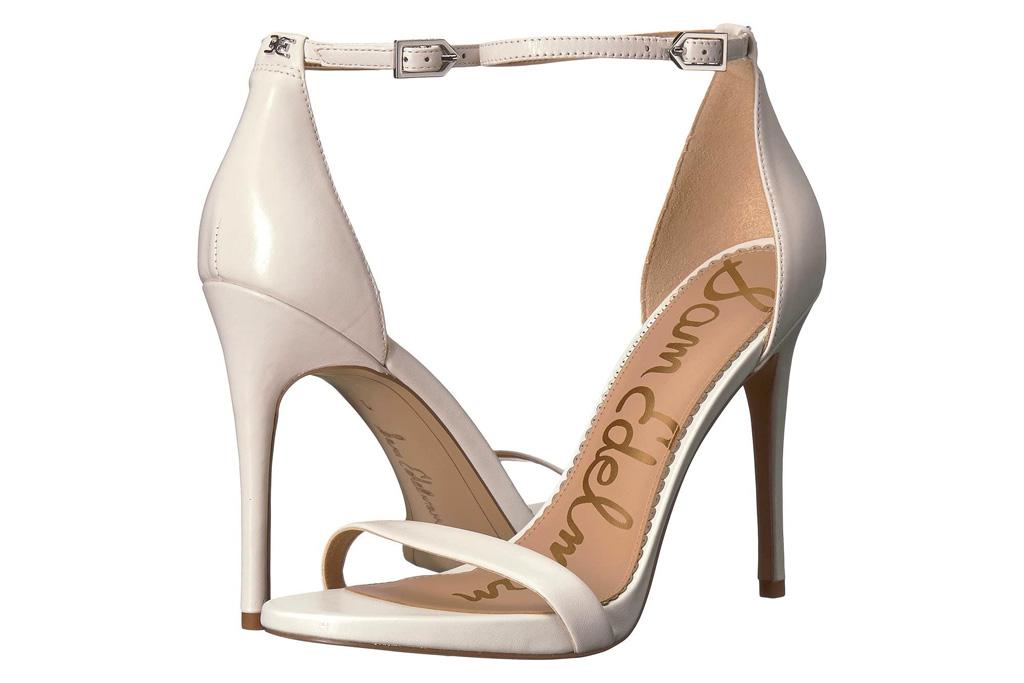 white sandals, heels, stiletto, sam edelman