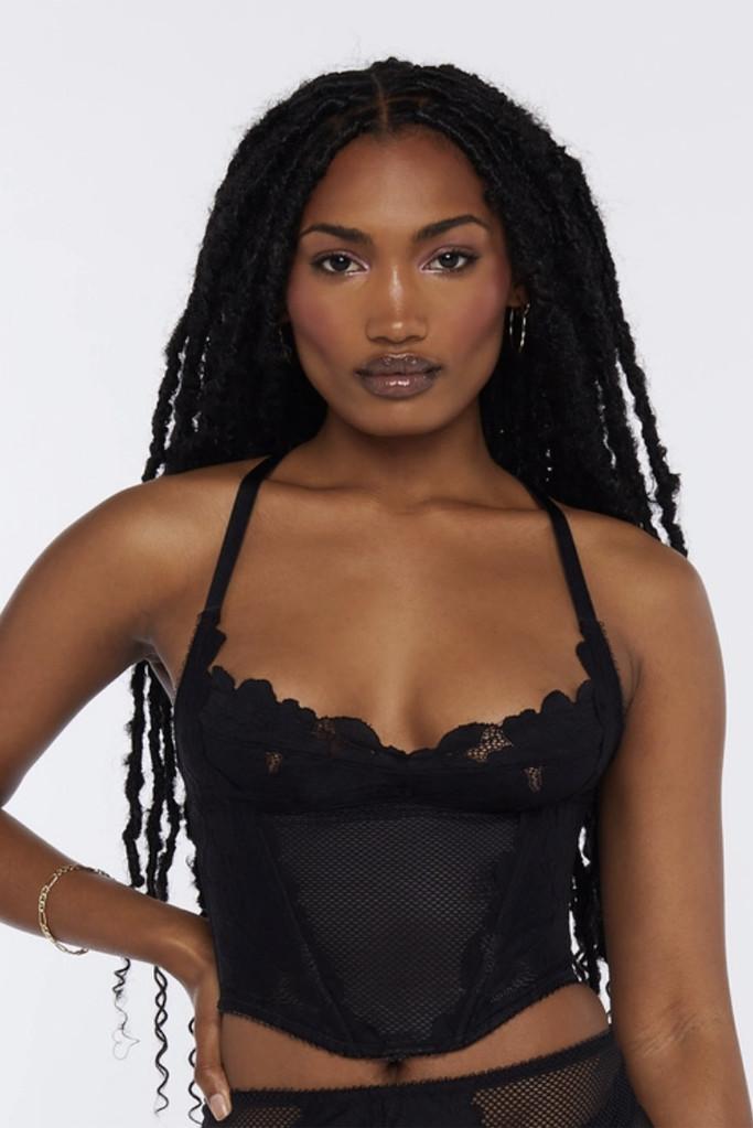 savage x fenty corset, black lace top, bustier