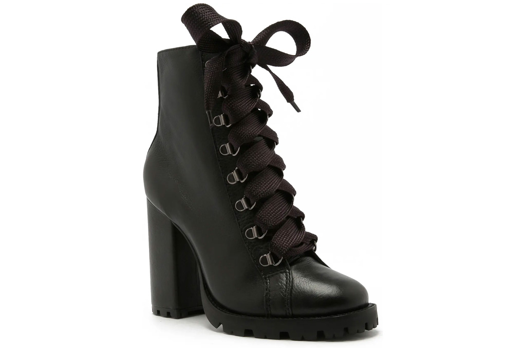 boots, combat boots, lace up, heeled, platform, black, schutz