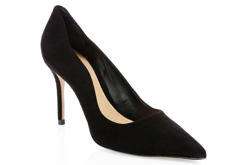 heels, pumps, black, suede, pointed toe, stiletto, schutz