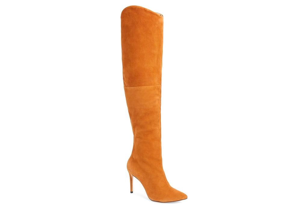 boots, thigh-high, suede, brown, schutz