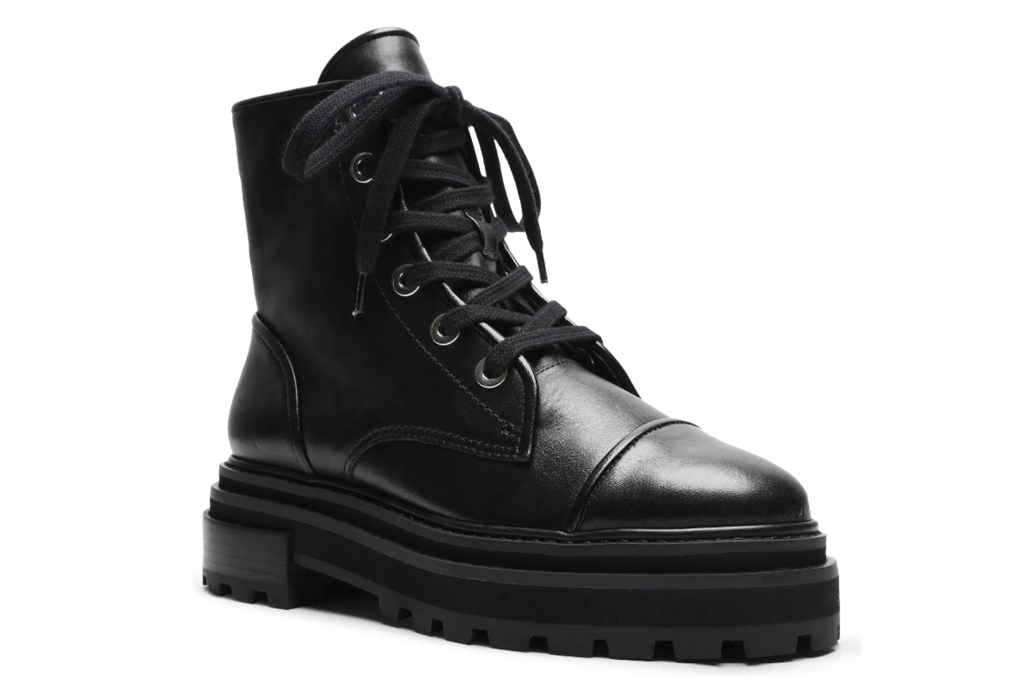 black boots, combat boots, lace-up, lug sole, schutz