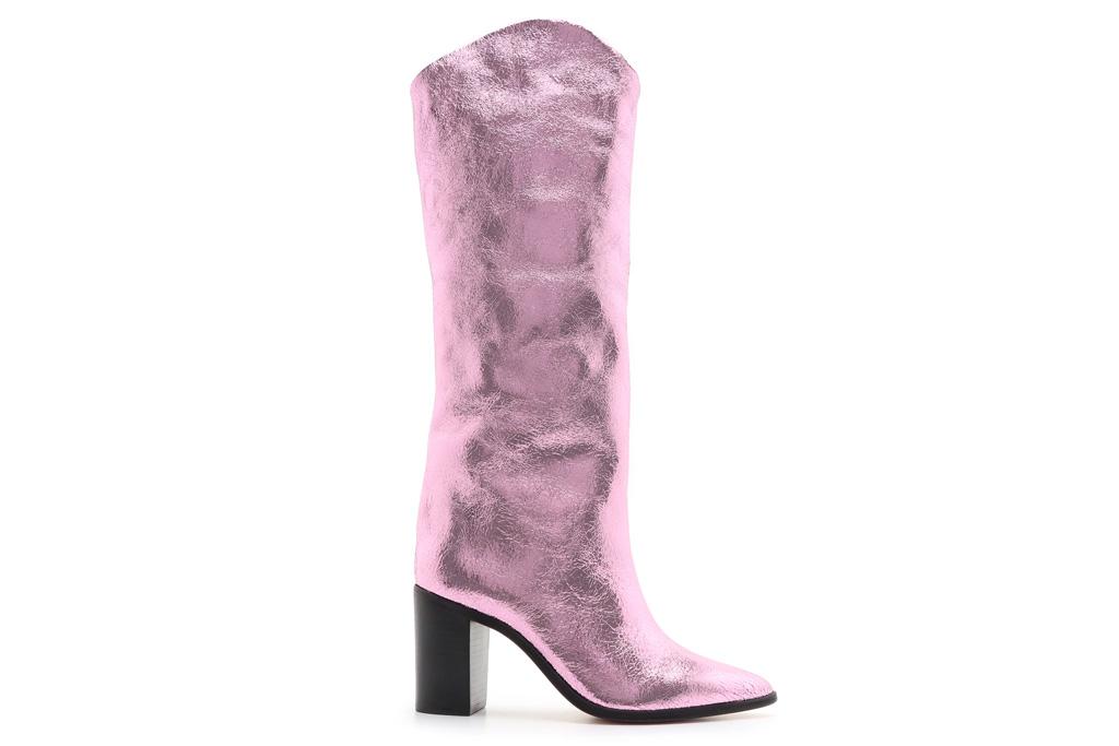 pink boots, metallic, pink, schutz