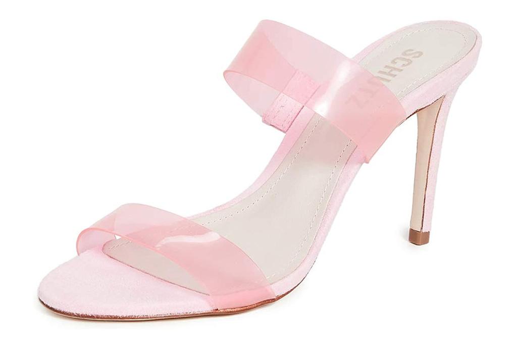 pvc heels, sandals, pink, schutz