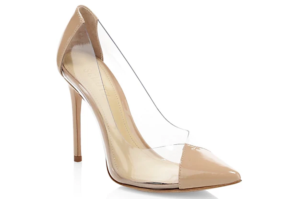 pvc, pumps, nude, pointed toe, see through, schutz