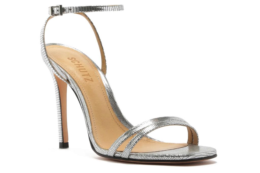silver sandals, heels, metallic, schutz