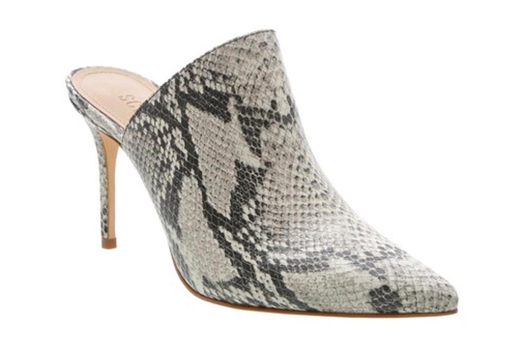 snakeskin, mules, heels, shoes, print, schutz