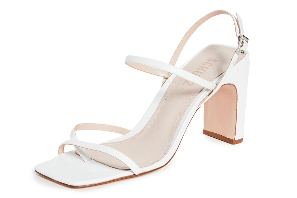 sandals, white, square toe, schutz