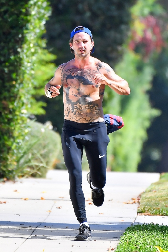 shia lebeouf, workout, run, sneakers, leggings, nike, brooks, los angeles