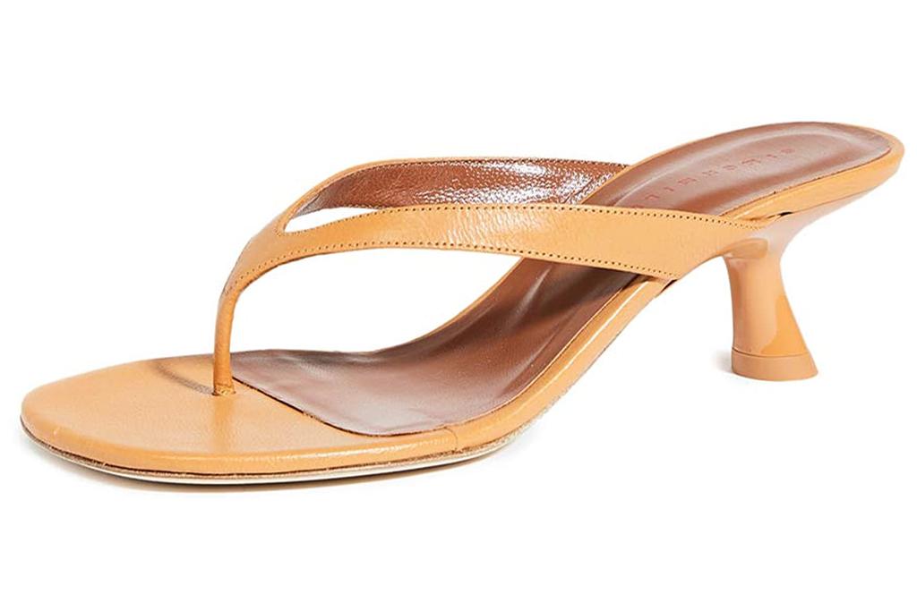 thong sandals, tan, nude, heel, kitten heel, simon miller