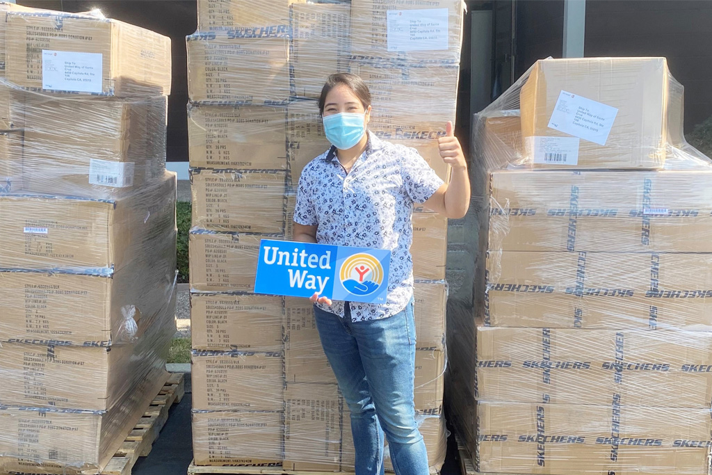 skechers, united way, donation