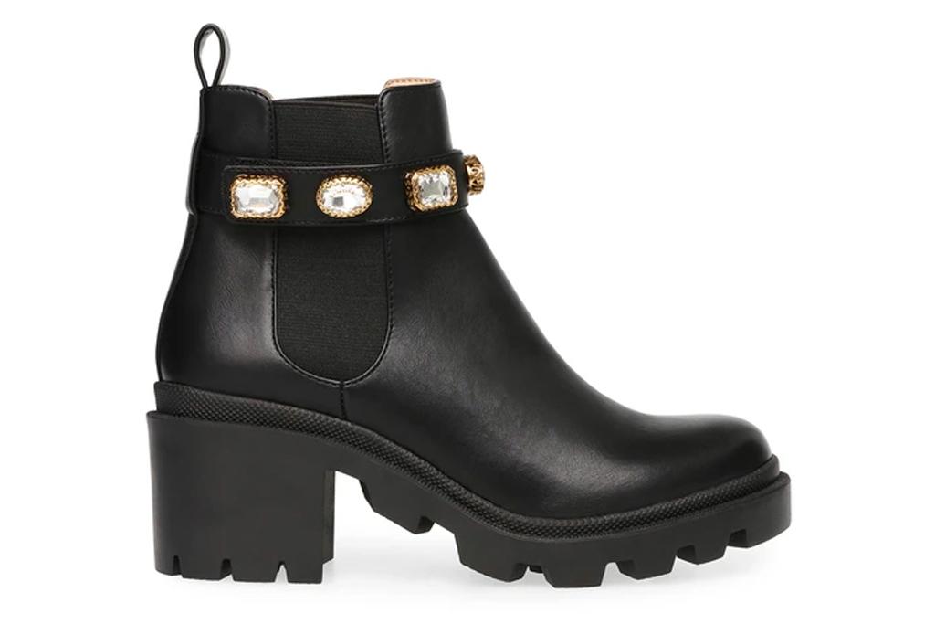 black boots, booties, gold, steve madden